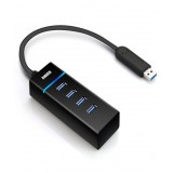 Adaptor 4 porturi USB 3.0 Splitter Hub Card Reader pentru MacBook PC Tablet