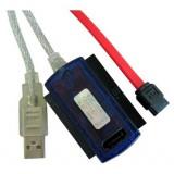 Adaptor convertor USB 2.0 la IDE 2.5'' / 3.5'' si SATA, cu alimentare 220v