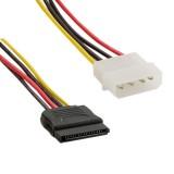 Cablu alimentare MOLEX- SATA F/M 15cm, 4World 06857