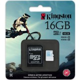 Card memorie 16GB microSDHC cu adaptor SD, Kingston SDCAC/16GB , Clasa 10, UHS-I U3