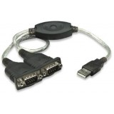 Convertor USB la 2 x SERIAL RS232, Manhattan adaptor activ USB la doua mufe serial RS-232