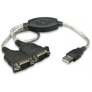 Convertor USB la 2 x SERIAL RS232, Manhattan adaptor activ USB la doua mufe serial RS-232