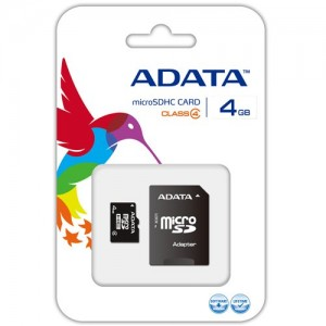 Card memorie Adata microSDHC 4GB CL4 + adaptor