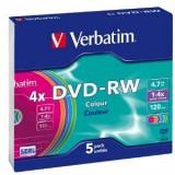 Verbatim DVD-RW, capacitate 4.7GB, viteza scriere 4x, slim jewel case, colorat, 5 bucati