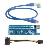 Extensie pentru placa video suplimentara USB3.0 PCI-E Express 1x To 16x Extender Riser Card Adapter SATA 6Pin Power Cable