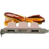 Bracket 2 x E-SATA plus power alimentare MOLEX extern, include cabluri molex-sata si date sata