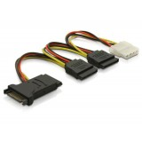 Cablu alimentare SATA 15pin > 3x SATA HDD + 1x 4pin IDE, Delock 60106