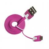 Micro USB Cabel 2.0 A-B M/M 1m, flat design, MLU527NK pink
