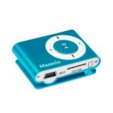 MP3 player cu cititor de card, căști, cablu miniUSB, aluminiu albastru, MSONIC