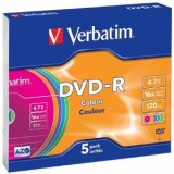 Verbatim DVD+R  4.7GB, 16x, slim jewel case, colorat , 5 bucati (43556)