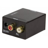 "CONVERTOR AUDIO , intrare: 2 x RCA, iesire: 1 x Toslink, 1 x Coaxial, 48KHz, alimentator extern 5V / 1A, black, LOGILINK ""CA0102"""
