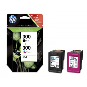 Set cartuse HP 300 negru + color, 2-in-1, originale, double pack [CN637EE]
