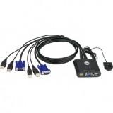 SWITCH KVM cu 2 Porturi USB, buton selectare de la distanta, cu cablu 90cm, ATEN CS22U