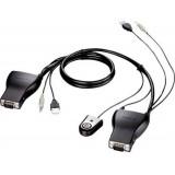 "SWITCH KVM D-LINK control 2 PC de la un monitor + mouse + tastatura, cu 2 x USB, 1 x VGA, mufa Audio 3.5mm, cabluri, telecomanda, ""DKVM-222"""