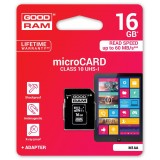 Card memorie Micro SDHC 16GB Class 10 UHS-I + Adapter, GOODRAM Memory card