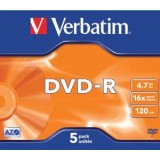 Verbatim DVD-R 4.7Gb 16X Jewel Case Pack of 5 43519
