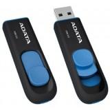 Stick Memorie16GB Adata USB3,UV128 fara capac, retractabil, negru si albastru