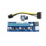 Gembird PCI Express Riser Card (6-pin power connector) Extensie pentru placa video suplimentara USB3.0 PCI-E Express 1x To 16x Extender Riser Card Adapter SATA 6Pin Power Cable