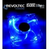 Ventilator Revoltec Dark Blue, 80x80x25mm cu 4 LED-uri albastre