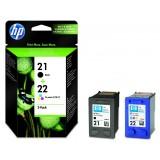 Set cartuse HP 21 + HP 22 originale, negru + color, double pack [SD367AE]