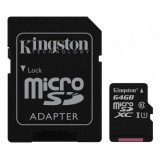 Card memorie microSDHC 64GB Kingston 64GB microSDXC Canvas Select 80R CL10 UHS-I Card + SD Adapter
