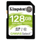 Card memorie SDXC 128GB Kingston Canvas Select 80R CL10 UHS-I, CARD SD 128 GB
