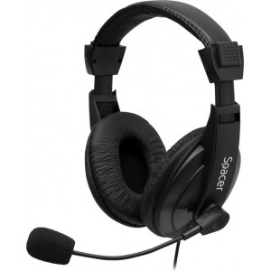 """CASTI cu microfon, cablu 1,3M cu jack 3.5mm, black, SPACER """"SPK-222"""""""