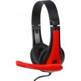"""CASTI cu microfon, cablu 1,3M cu jack 3.5mm, red & black SPACER """"SPK-507"""""""