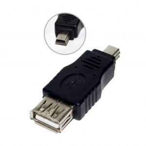 Adaptor OTG MINI USB tata 5 pini la USB mama,  CABLU OTG MINI USB 5 pini, Vakoss (testat OK functional case marcat) TC-U119K