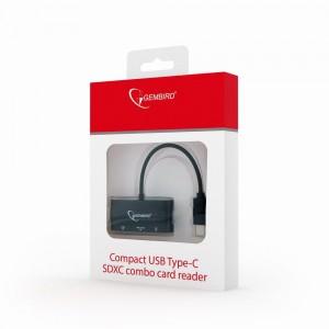CARD READER USB Type-C SDXC combo , OTG, negru, compact, Gembird